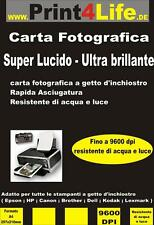250 Fogli Carta Fotografica A4 High Glossy 260g Lucida Premium Brillante Photo