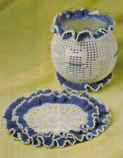 PRETTY Miss Kitty Bowl Cover & Doily/Decor/Crochet Pattern INSTRUCTIONS ONLY