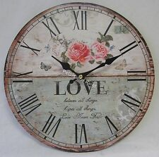 29cm Rustic French Provincial Country Wall Clock Roses Love Believes all Things