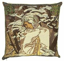 "NEW ALPHONSE MUCHA ""WINTER / HIVER"" 18"" TAPESTRY CUSHION COVER 18G"