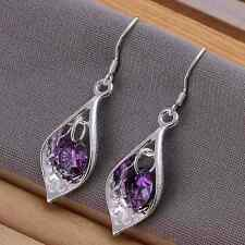 925 Silver Plated Inlaid Amethyst Classic Earrings Women Fashion Jewellry