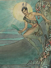 c1930's Superb Original Watercolour Illustration of a Mythical Young Man (Puck?)