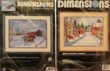 Dimensions Stamped Cross Stitch Kits Covered Bridge In Winter Sunday Morning