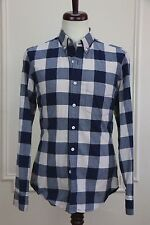 J. Crew mint blue/white buffalo plaid oxford slim shirt: S