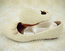 Fatto a mano perla da Sposa Damigelle D'onore Scarpe Piatte Pearl wedding shoes uk3-6.5