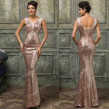 Ladies Sequin Long Maxi Evening Formal Party Cocktail Dress Bridesmaid Prom Gown