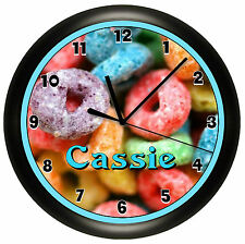 FRUIT LOOPS WALL CLOCK PERSONALIZED CEREAL NOVELTY ART CUTE GIFT KID DECOR