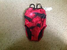 New women's size 26 Speedo Rising Sun Geoback SPREE, red and black, New