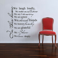 Wall Quote Art Decal Vinyl Sticker Removable Decor FAMILY HOUSE RULES PROMISE #4