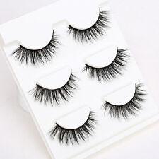 3Pair 3D Natural Eyelashes Bushy Cross False Mink Hair Eye Lashes Black