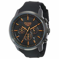 Pulsar Men's On The Go PT3207 Stopwatch Date Chronograph 100M Black Band Watch