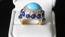 Kenneth Jay Lane Turquoise & Lapis Cabochon Dome Cocktail Ring   NEW!