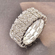 Much Row Swarovski crystal 9K White Gold Filled Womens Ring7 Adjustment F4998