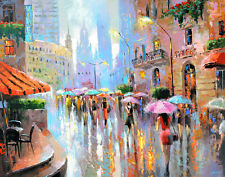 """Rain and city - modern oil painting on canvas by Dmitry Spiros. Size: 28""""x36"""""""