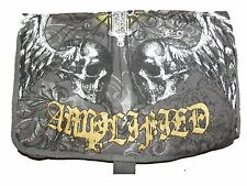 NEW AMPLIFIED UNISEX CHARCOAL / GOLD CANVAS OVERBODY MESSENGER WINGED SKULLS BAG