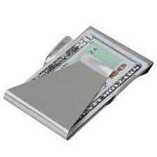Slim Money Clip Double Sided Cash Credit Card Holder Wallet Stainless Steel UL