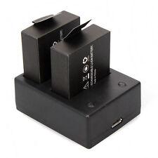 2x3.7V 900mAh Batería+Dual Cargador Para SJ8000 SJ9000 Impermeable Nuevo Hot