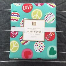 POTTERY BARN Teen Peace and Love Flannel queen Duvet Cover only Green Pink Red
