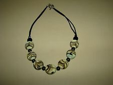 """New Handmade Glass Beaded Necklace black olive green beads toggle clasp 18"""""""