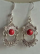Christmas gift,beautiful minority Tibet silver jewelry,red coral earring one pai