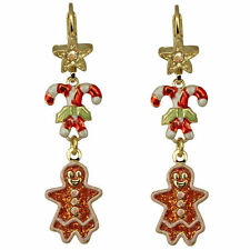 Kirks Folly Mrs. Gingerbread Leverback Earrings Goldtone & Pink & Lightweight