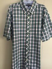 Tommy Hilfiger Men's 2XL Short Sleeve Blue And Green ButtonUp Plaid EUC