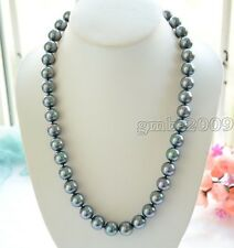 "18""LONG 10mm Peacock Black Round SOUTH SEA SHELL PEARL NECKLACE AAA"
