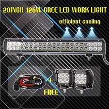 "20inch LED Light Bar Spot Flood Combo + 2x 4"" CREE Pods Ford SUV 4WD Jeep ATV 24"