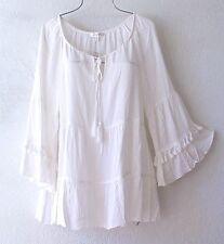 NEW~$68~SPENSE~Ivory Peasant Ruffle & Tassle Blouse Shirt Boho Top~8/10/M/Medium