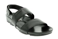Prada Men's Leather Sandals Slip On Adjustable Strap Black New Size 9US/8UK NIB