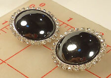 """2 large Czech silver metal shank buttons large hematite glass stone 1.25""""  #454"""