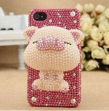 3D Handmade Beige Pig Bling For cell Phone For iPhone 4 4S Case Cover Skin # Q12