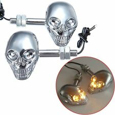 2x Chrome Universal Motorcycle Turn Signal Skull LED Indicator Light Blinker