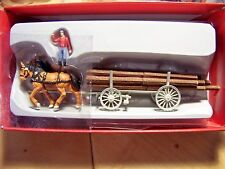 HO Preiser Old Time Lumberjack Figure with Team of Horses and Log Load Wagon