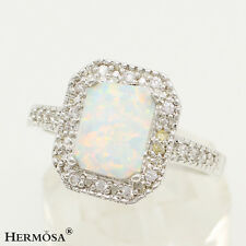 75% OFF White Opal Wedding Cut 925 Sterling Silver Rings Sz.7,Free Shipping