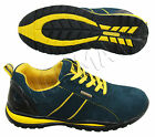 MENS NAVY LEATHER SAFETY STEEL TOE CAP SHOES BOOTS LACE UP FASHION TRAINER HIKER