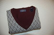 NWOT LINEA ROSSO Men's V-Neck Wool Sweater Size XL .