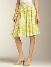 NEW $89 TALBOTS Yellow,Green ZigZag Stripe Cotton Voile Full Skirt Sz 4