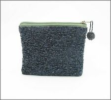 Seed Bead Silver Blue Purse, 10 x 12 cm