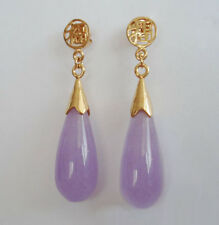 Purple Lavender Jade Yellow Gold Plated Fortune Stud Drop Earrings