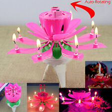 Musical Spinning Rotating lotus Flower Cake Topper Party Birthday Candle Gift