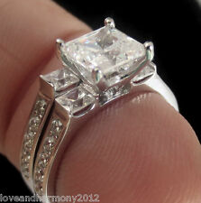 2.14 cts Princess cut Engagement Ring matching wedding band 14K solid White gold