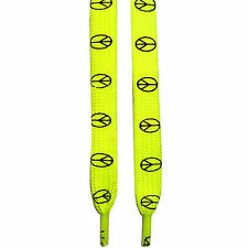 Flat Neon UV Fluorescent Yellow Peace Logo Shoe Laces Trainer Sneaker Pump Boot