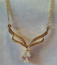 "AVON Silver Tone Chain Tear Drop Clear Rhinestone Necklace 16"" Chain"