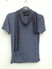 RIVER ISLAND FUNKY GREY FLECK STRETCHY TSHIRT TOP WITH SCARF S 8 10 12