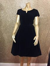 STUNNING TRUE VINTAGE 1950's BLACK VELVET PROM DRESS - SIZE 8
