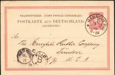 1886 HANNOVER GERMANY to UNITED STATES Germany Postal Card Cover (1335)