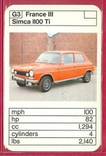 "VINTAGE 1970's/'80's ACE TRUMP GAME ""France III Series"" SIMCA 1100 Ti CARD #G3"