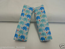 Baby Seat Strap Covers Car Highchair Stroller Pram Capsule - Tiny Blue Elephants