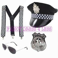 MENS POLICEMAN BRACES HAT HANDCUFFS AVIATORS POLICE COP FANCY DRESS STAG DO